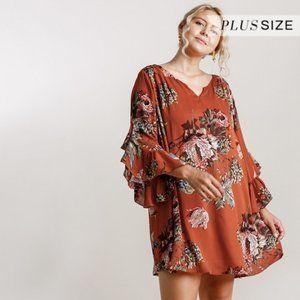 Umgee Plus Sunset Mix Floral Bell Sleeve Dress